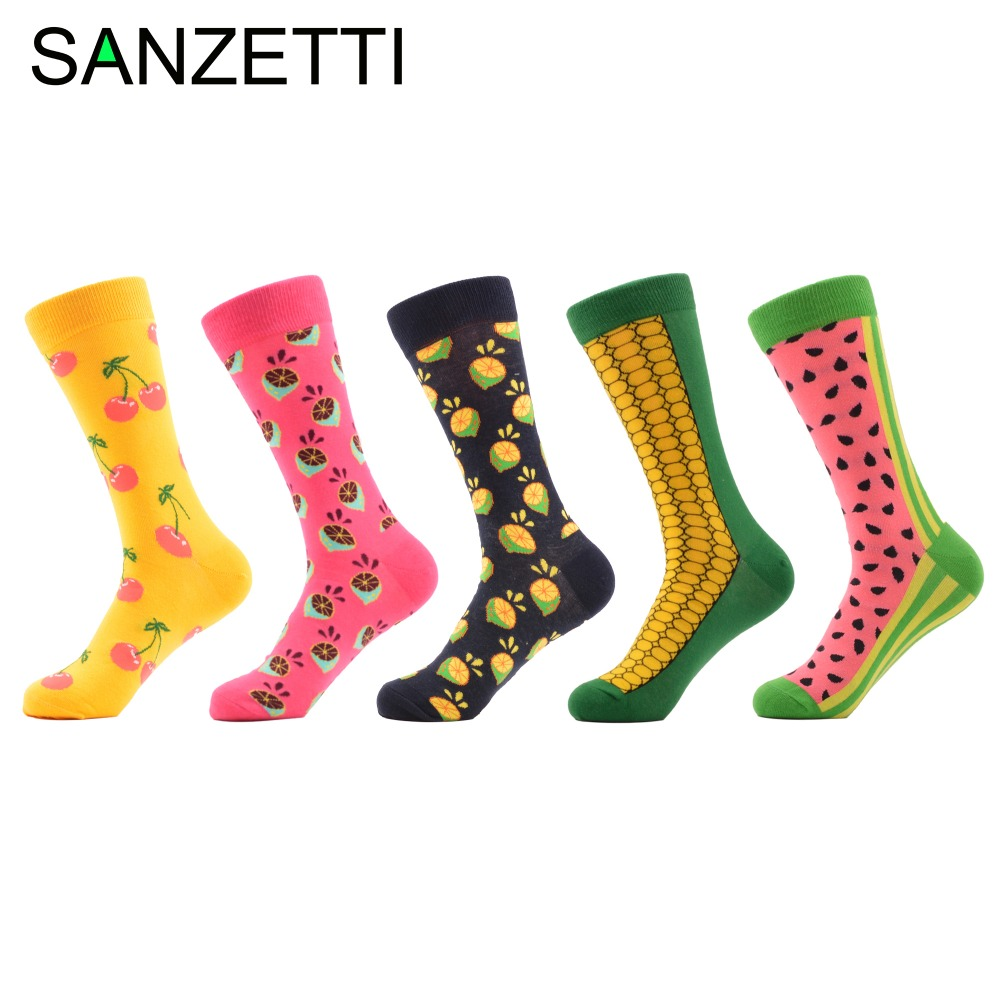 SANZETTI 5 pairs/lot Combed Cotton Colorful Mens Wedding Socks Cherry Corn Watermelon Casual Dress Funny Party Dress Crew Socks
