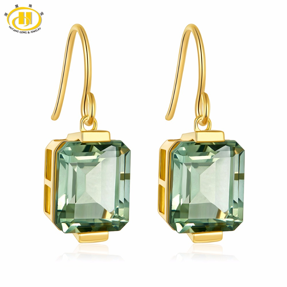 Hutang Stone Hopp Earrings 11 14ct Natural Gemstone Green Amethyst Solid 925 Sterling Silver Yellow Gold