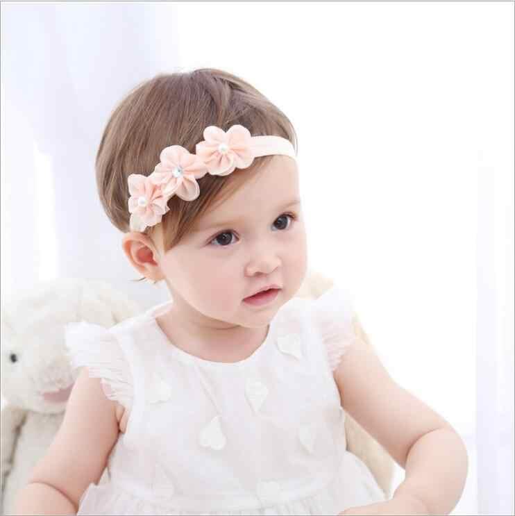 Nouveau Style de mode accessoires de cheveux pour enfants 3 mousseline de soie fleur perle bande de cheveux bandeau coiffure filles cheveux bandans pour les filles