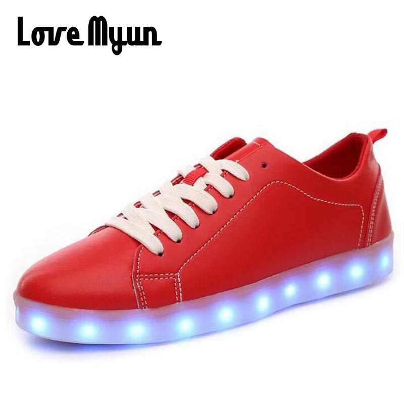check out af5c8 57b99 Male RED BLACK White Light Up Shoes Low Men zapatos luces dorado Fashion  LED sneakers USB