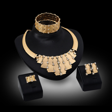 hot deal buy trendy jewelry set women gold plated beads collar necklace earrings bangle fine rings party costume latest sets