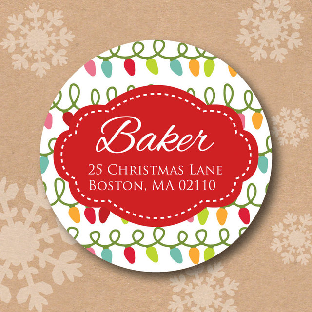 christmas personalized printing labels happy new year custom stickers wedding stickers printed logo xmas round label