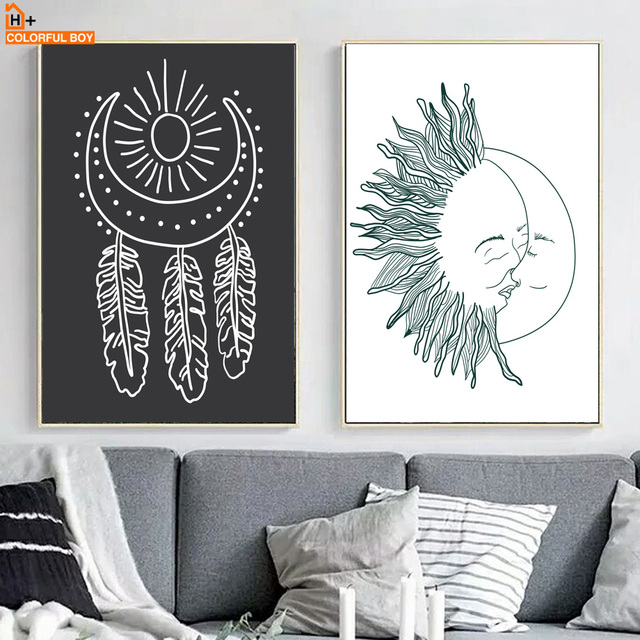 Cute Sun Moon Kiss Feather Wall Art Canvas Painting Nordic Posters