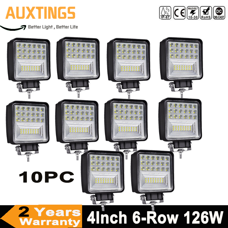 10pc 4Inch 126W 6 Row LED Work Light Offroad Led Bar Lights Fog Lamp for 4x4