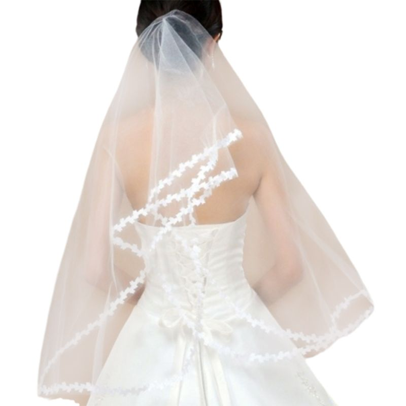 1M Single Layer Women Short Sheer Mesh Tulle Wedding Veil White Small Leaf Applique Patchwork Trim Wavy Solid Color Bridal Veil