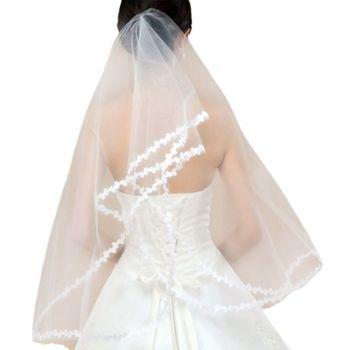 1M Single Layer Women Short Sheer Mesh Tulle Wedding Veil White Small Leaf Applique Patchwork Trim Wavy Solid Color Bridal Veil Bridal Veils