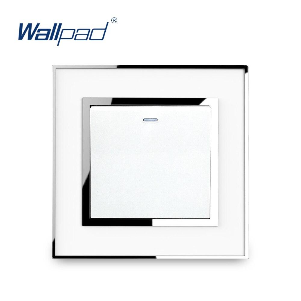 Interruptor de luz de reinicio de 1 banda interruptor de botón pulsador función de timbre Panel acrílico de lujo con borde de plata Panel de pared Interruptor de pared estándar UE/Reino Unido, Interruptor táctil de Luz 2 Gang 1 Way AC110V 220V Interruptor táctil de pared