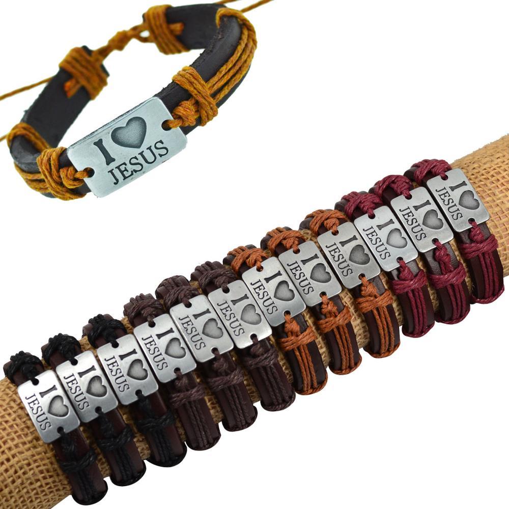 Prix pour Jiayiqi 12 PCS j'aime JÉSUS Véritable Bracelet En Cuir Antique Argent Animal Pendentif Corde Chaîne Charmes Wrap Bracelet Pour Les Femmes hommes