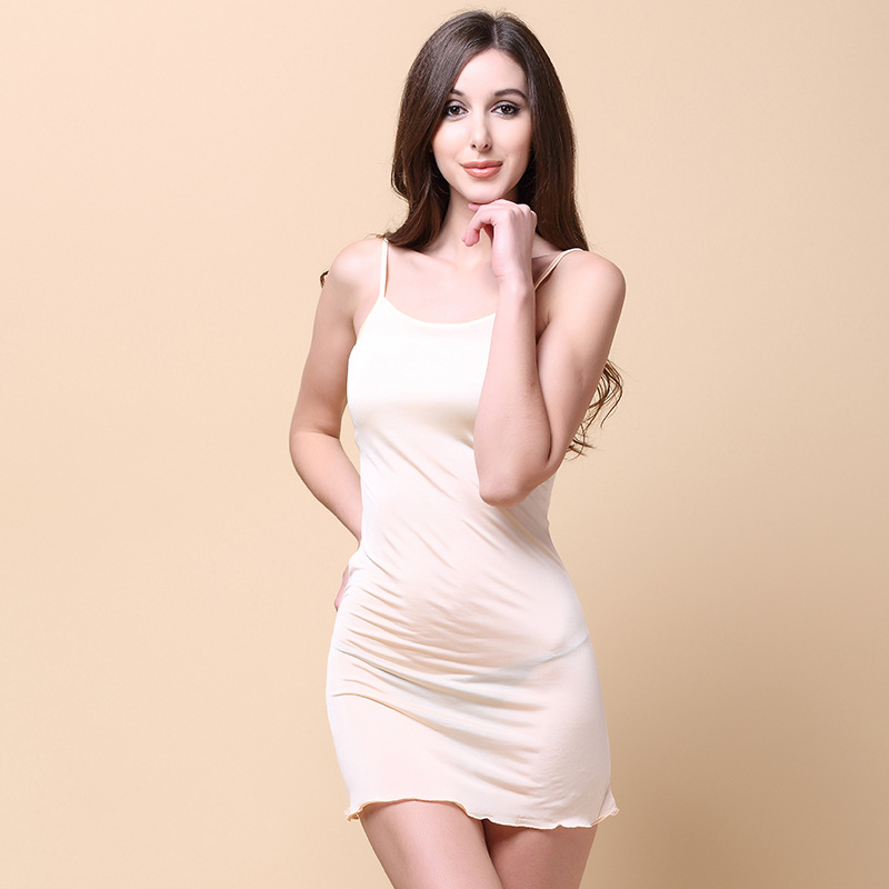 Summer Women 100% Real Silk Knitted Robes Slash Neck Sleeveless Nightgowns Comfortable Breathable Female  Robes 5301