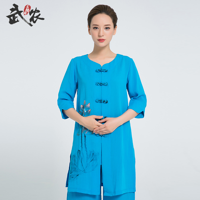 2018 New Product  Linen  Hand Painted  Tai Chi Robe Women Chinese Martial Arts Uniform Include Jacet And Pants