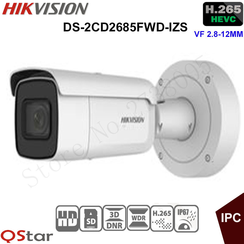 Hikvision 8MP WDR Vari-focal Security IP Camera H.265 DS-2CD2685FWD-IZS Bullet CCTV Camera 2.8-12mm face detection IP67 IK10 зимняя шина nokian hakkapeliitta 8 suv 265 50 r20 111t