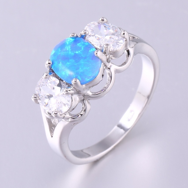 ZHE FNA Blue Fire Opal Engagement Ring Pave White AAA CZ Zircon Oval