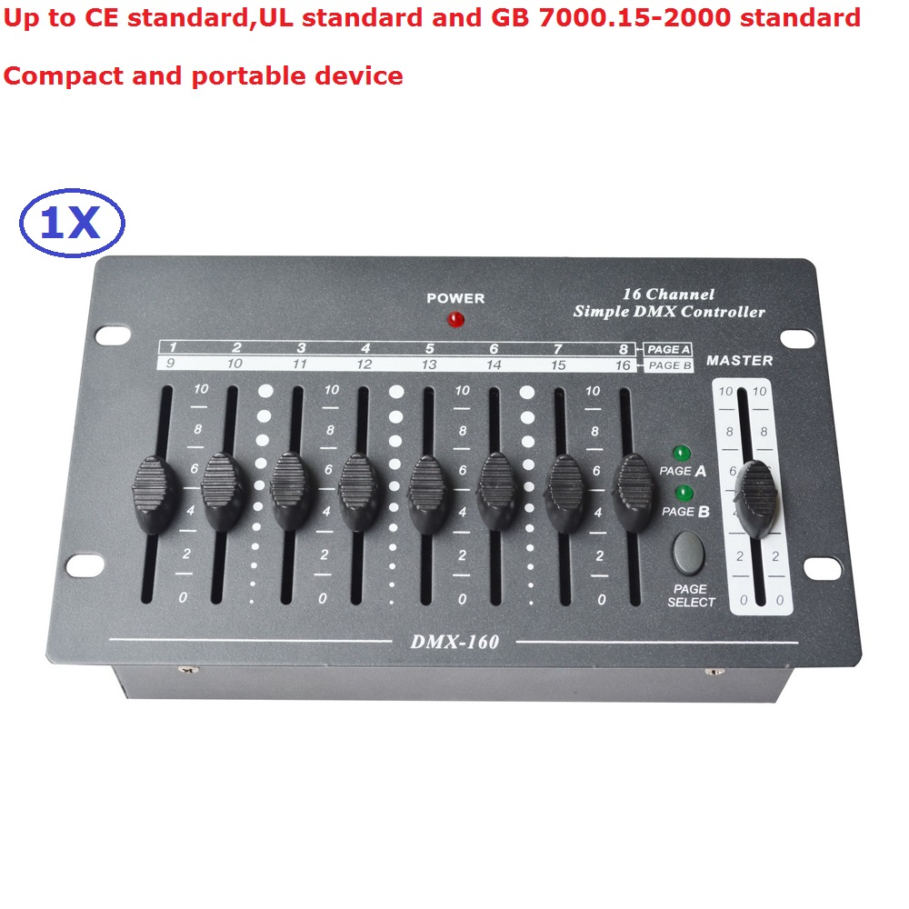 1Pcs/Lot Free Shipping 16 Channel Simple DMX Controller DJ Disco Lighting Console Control Moving Head Lights LED Par Cans 1pcs lot free shipping 32 channels dmx stage lighting controller dmx console control led moving head lights led par light