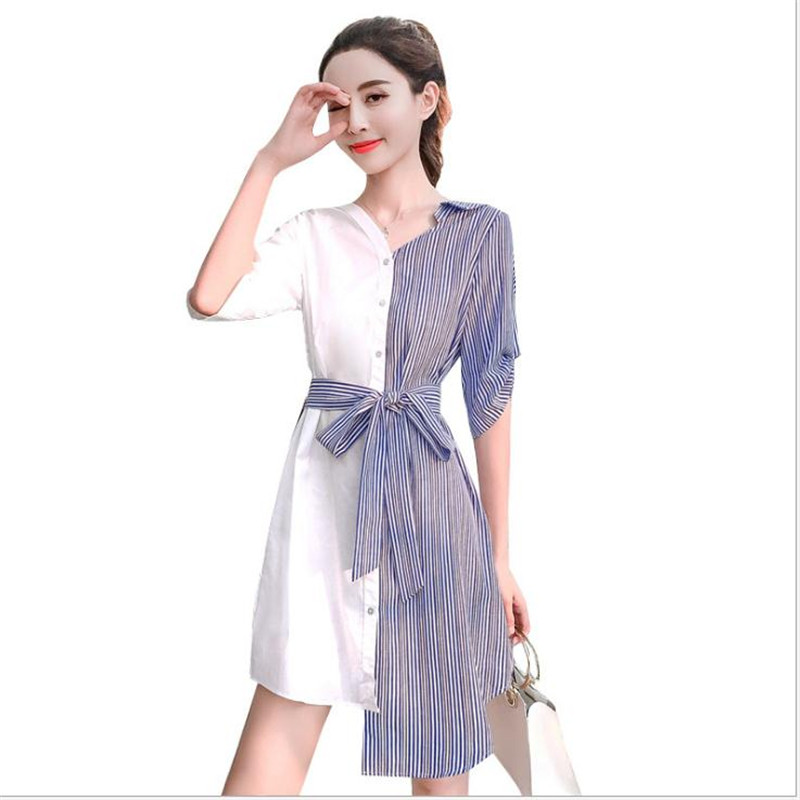 New Fashion Patchwork Striped Womem Shirts Dress 2018 Summer V-Neck Mini Asymmetrical Dress With Sashes Elegant Dress CQ1970 ...