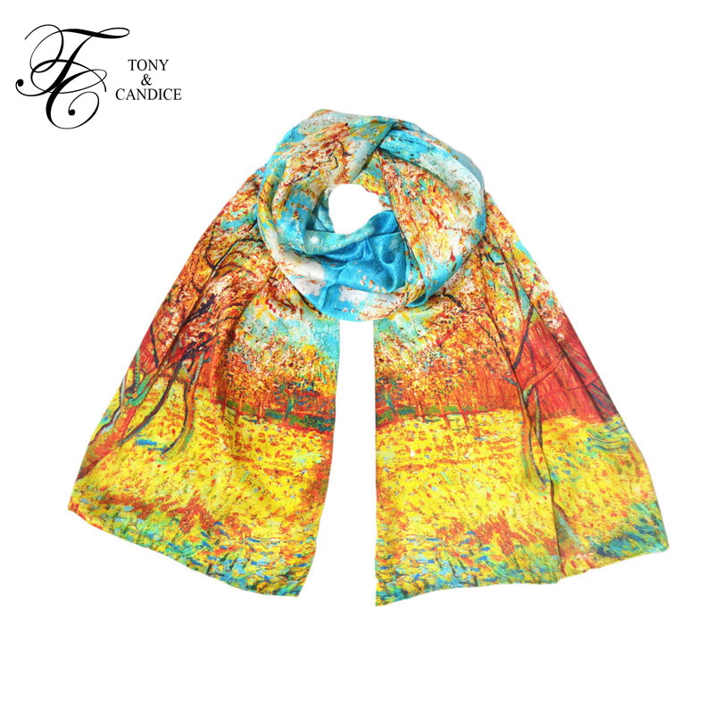 Tony&Candice Silk Scarf 100 Silk Luxury Brand 2018 Scarves Women Oil Print Plus Size Ladies Pure Silk Shawl Long Scarves