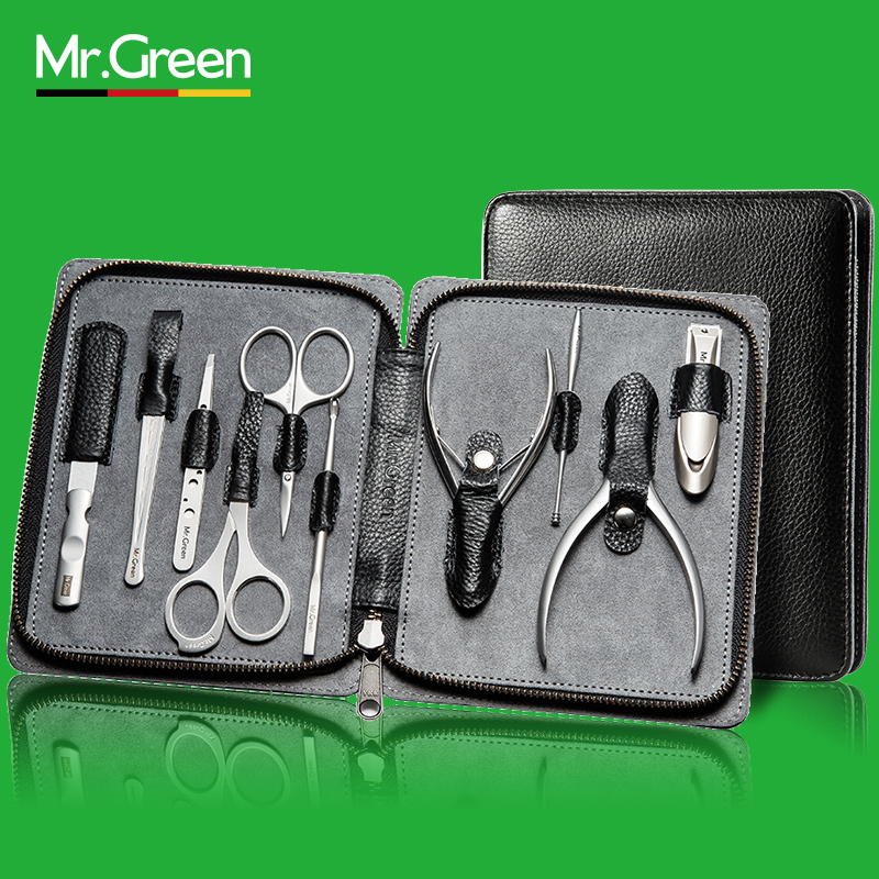 MR.GREEN 10 Pcs manicure pedicure nail clipper trimmer stainless Steel Toe nail cutter Genuine Leather nail scissors tools цена 2017