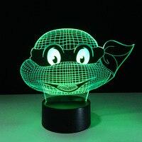Cartoon Teenage Mutant Ninja Turtles Maschera Lampada Da Tavolo 7 Colori Che Cambiano Atmosfera Luminarias LED Illusion Nightlight Decorazioni Per La Casa