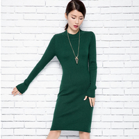 New Arrived Winter Round O Neck Thick Pullovers Cashmere Sweater Stripe Slim Long Dress Sweater For