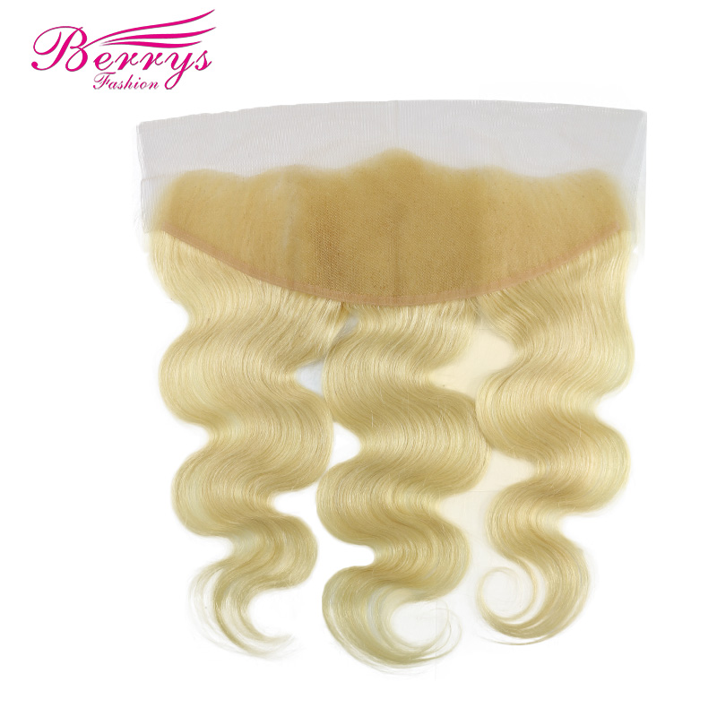 [Berrys Fashion] Blonde Lace Frontal  13x4 Brazilian Body Wave Color 613 Human Hair With Baby Hair Frontal Remy Hair Extensions