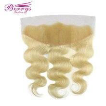 [Berrys Fashion] светлые кружевные Фронтальные 13x4 бразильские волнистые цветные 613 человеческие волосы с фронтальным remy для наращивания волос