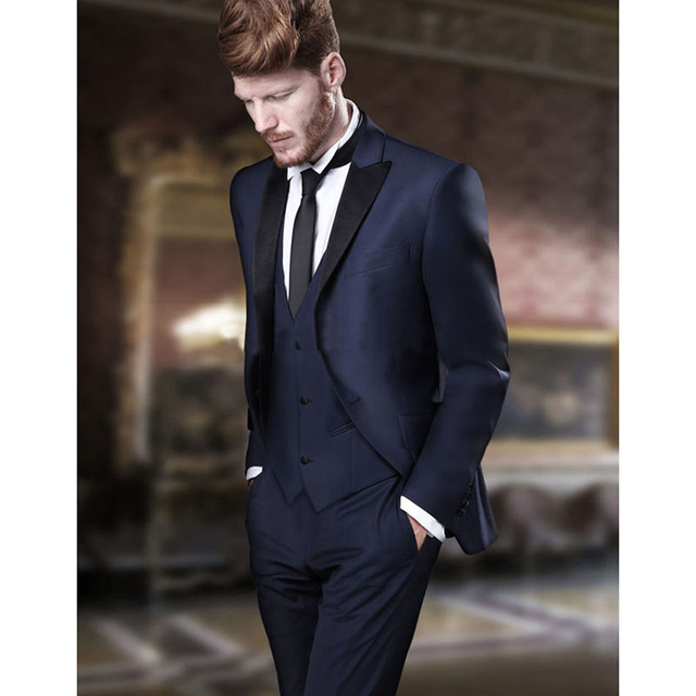 2017 Latest Coat Pant Designs Dark Blue Men Wedding Suit Tuxedo Slim Fit 3 Piece Groom
