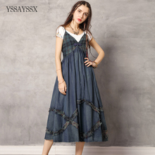 цена на YSSAYSSX Vintage Sling Mid Waist Denim Dress New Plaid Stitching V-Neck Dress  Sleeveless Contrast Color Buckle Denim Dress