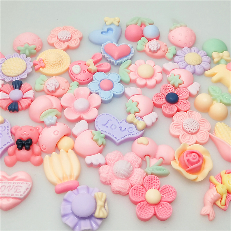 30PCS Mix Style Resin Bow Heart Rabbit Animal Miniature Flowers Candy Banana cherry corn mermaidResin Cabochons-0