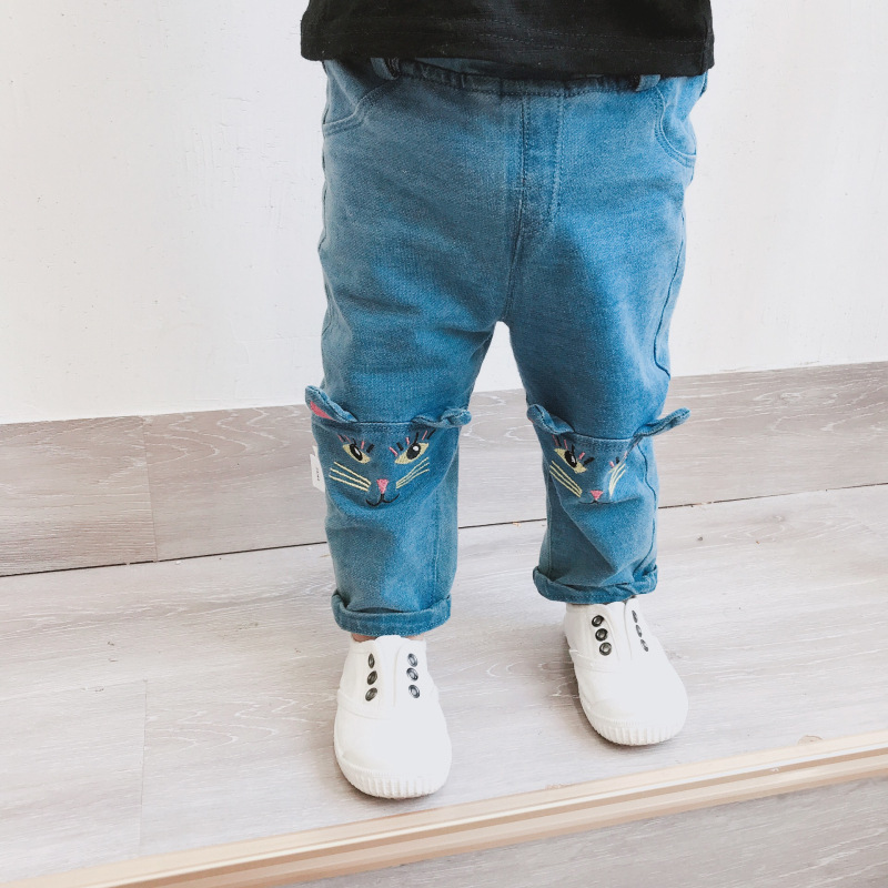 New Arrive baby pants baby girls jeans full pants soft bebe jeans newborn jeans kids baby boy girl cat embroidered jeans 9M-3T