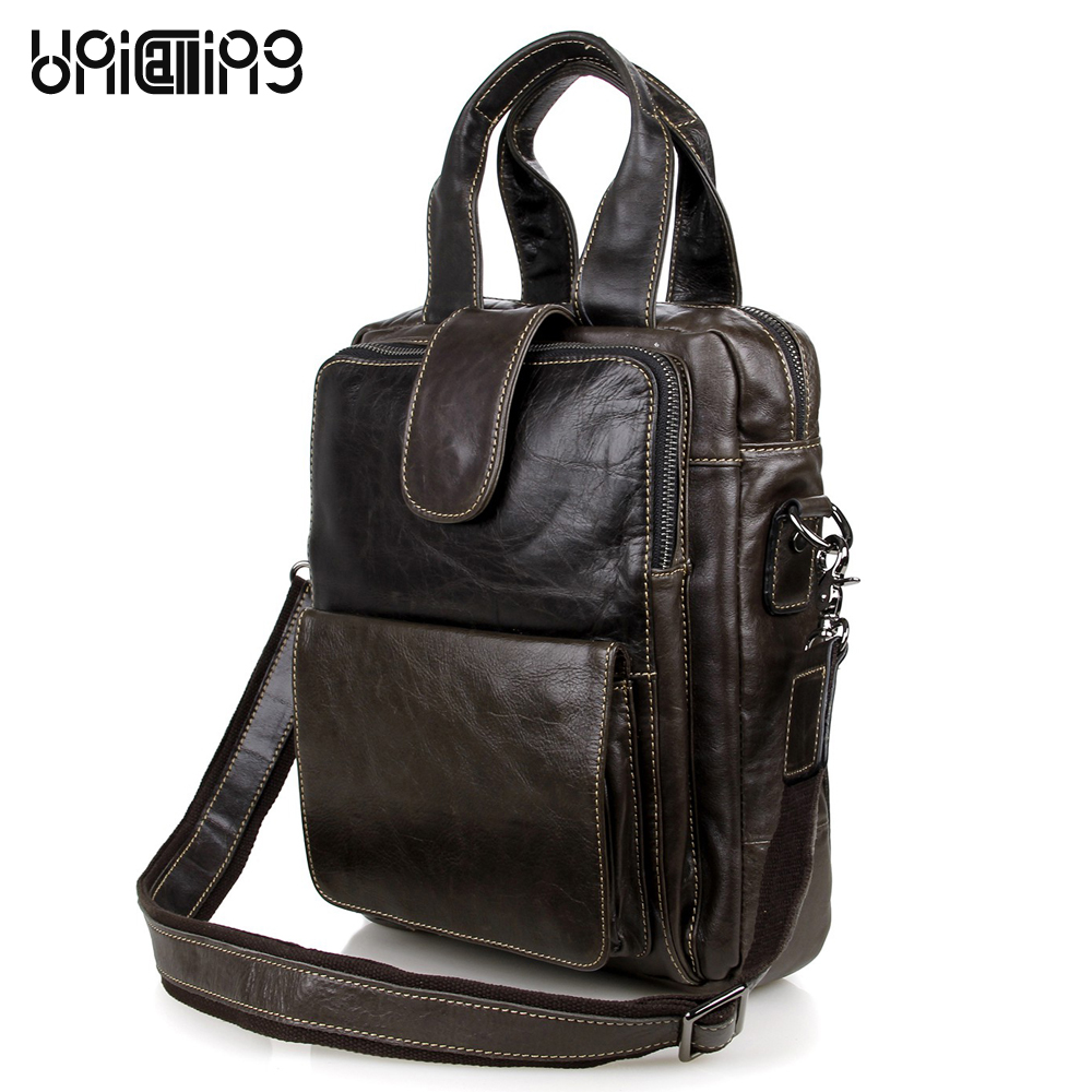 Men fashion vintage leather shoulder bag quality genuine leather men crossbody bag male handbag can hold iPad/A4 Magazine