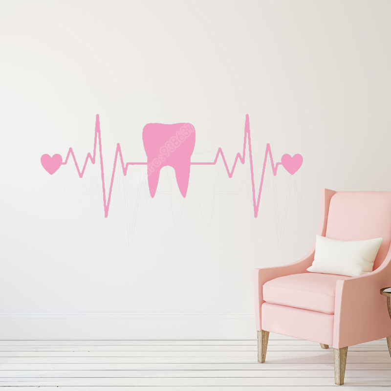 Teeth Toothpaste Dentist Dentistry Heart ECG Funny Stickers Bathroom Wall Decor Waterproof Vinyl Wall Decals B523(China)