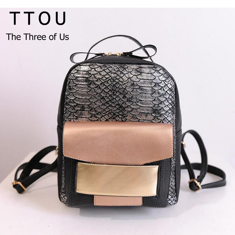 TTOU Women Sequined Backpack Fashion Female Top-handle Travelling Bags PU Leather Bagpacks Youth School Bag Mochila Feminina Bag drawstring pu leather backpack small school women bag top handle lock girl backpack new arrivals herald fashion mochila feminina