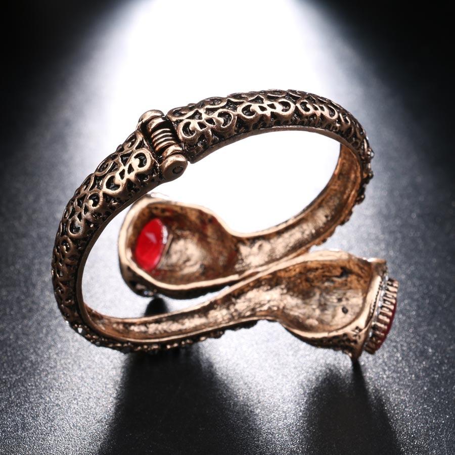 Vintage Bilezik Kadınlar Için Antik Altın Renk Kırmızı Reçine - Kostüm mücevherat - Fotoğraf 6