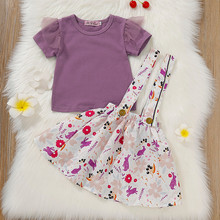 8109b675c Bebé niñas vestido conjuntos de algodón Casual ropa de verano de manga  corta de encaje camiseta Tops estampado correas faldas tr.