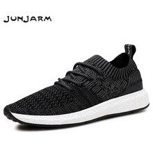 JUNJARM Breathable Men Sneakers Men Casual Shoes Adult Black High Quality Comfortable Non slip Soft Mesh Men Footwear 38 46