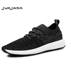 JUNJARM Nefes Erkekler Sneakers Erkekler rahat ayakkabılar Yetişkin Siyah Yüksek Kaliteli Rahat kaymaz Yumuşak Örgü erkek ayakkabı 38 46