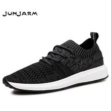 JUNJARM oddychające męskie trampki męskie buty w stylu casual dla dorosłych czarny wysokiej jakości wygodne antypoślizgowe miękkie siatki męskie obuwie 38 46