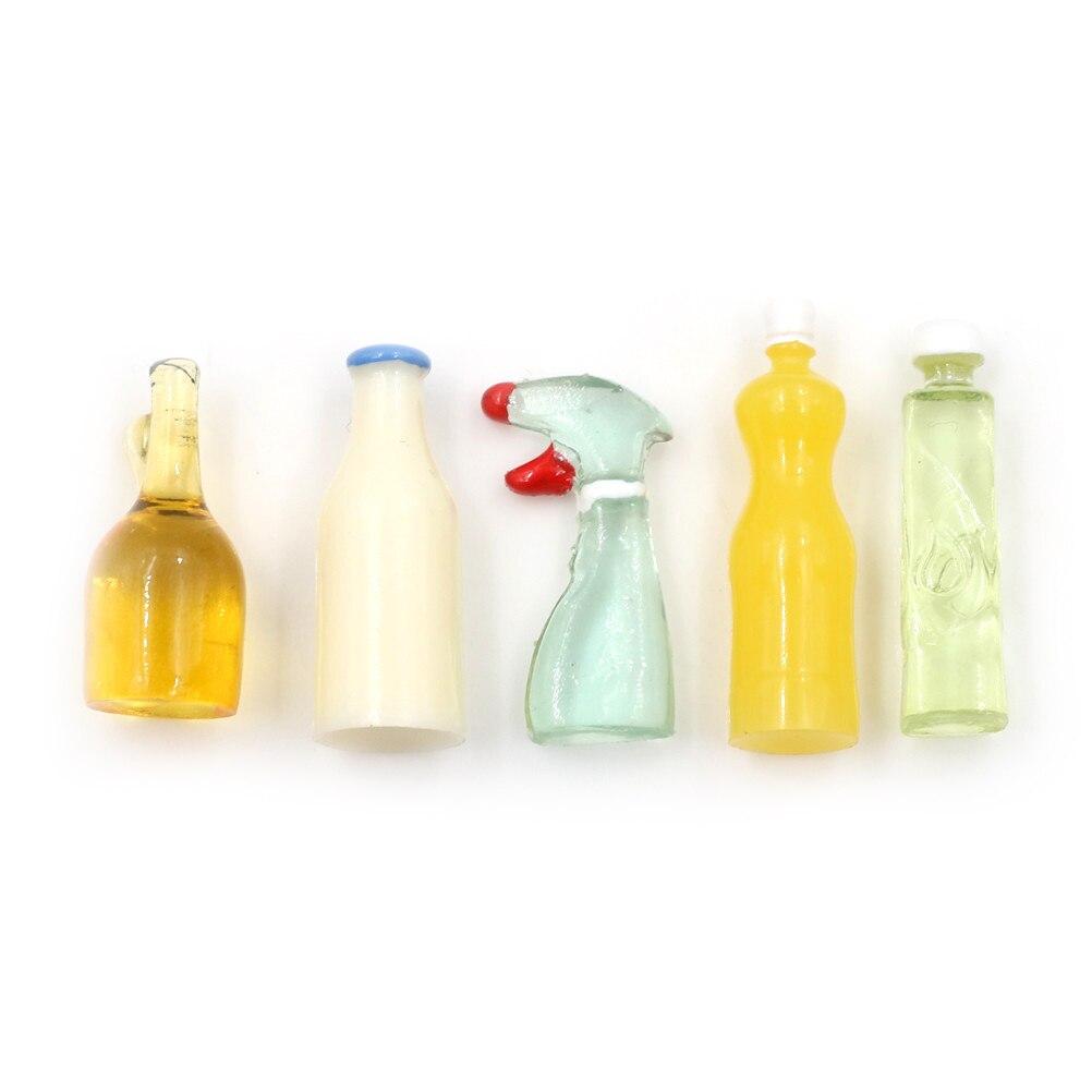 Dollhouse Miniature 1:12 Toy 5 Pieces Plastic Kitchen Bottles Height 3cm A^