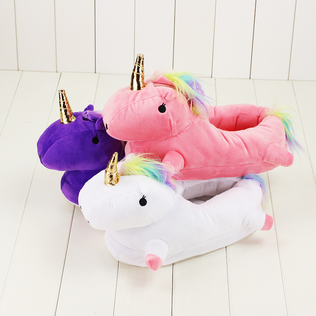 262e9392ea3 29cm Winter Led Light Plush Unicorn Slippers Warm Fluffy Floor Adult  Slippers For House Bedroom Footwarmer