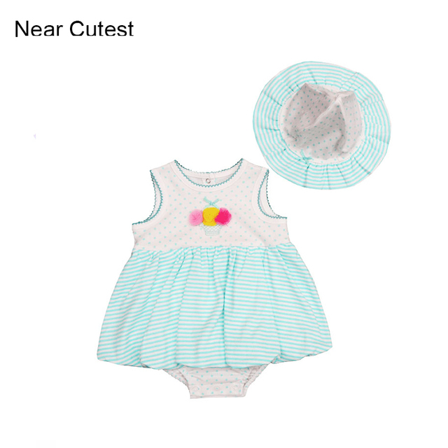 3ac02a70651 Near Cutest 2pcs set Summer Baby Rompers Newborn Baby Girl Clothes Infant  Girls Jumpsuit Cotton Short Baby Girls Romper +Cap