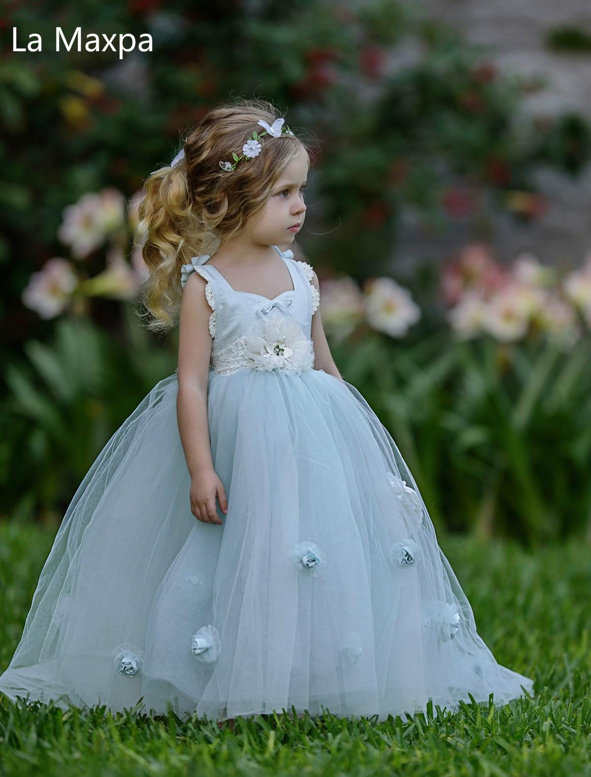 New Rose Flower Lace Dress Girls Wedding Birthday Party Evening Dress Blue Children Performance Beautiful Tutu Ball Gown Dress lace high low swing evening party dress