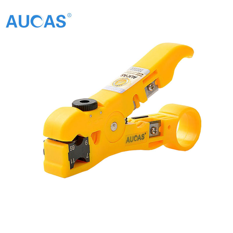 Universal Network Cable Wire Cutter Stripper Coaxial Cable RG59/6/7/11 Cat5e Cat6 Round & Flat Cable Cutting Stripping Tool
