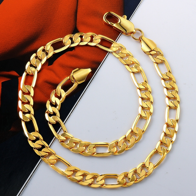 Classic Luxury Men jewelry Gold Color Necklace Chain Men Stamp Men Jewelry New Trendy Long Wedding Chain Necklace 2017 3