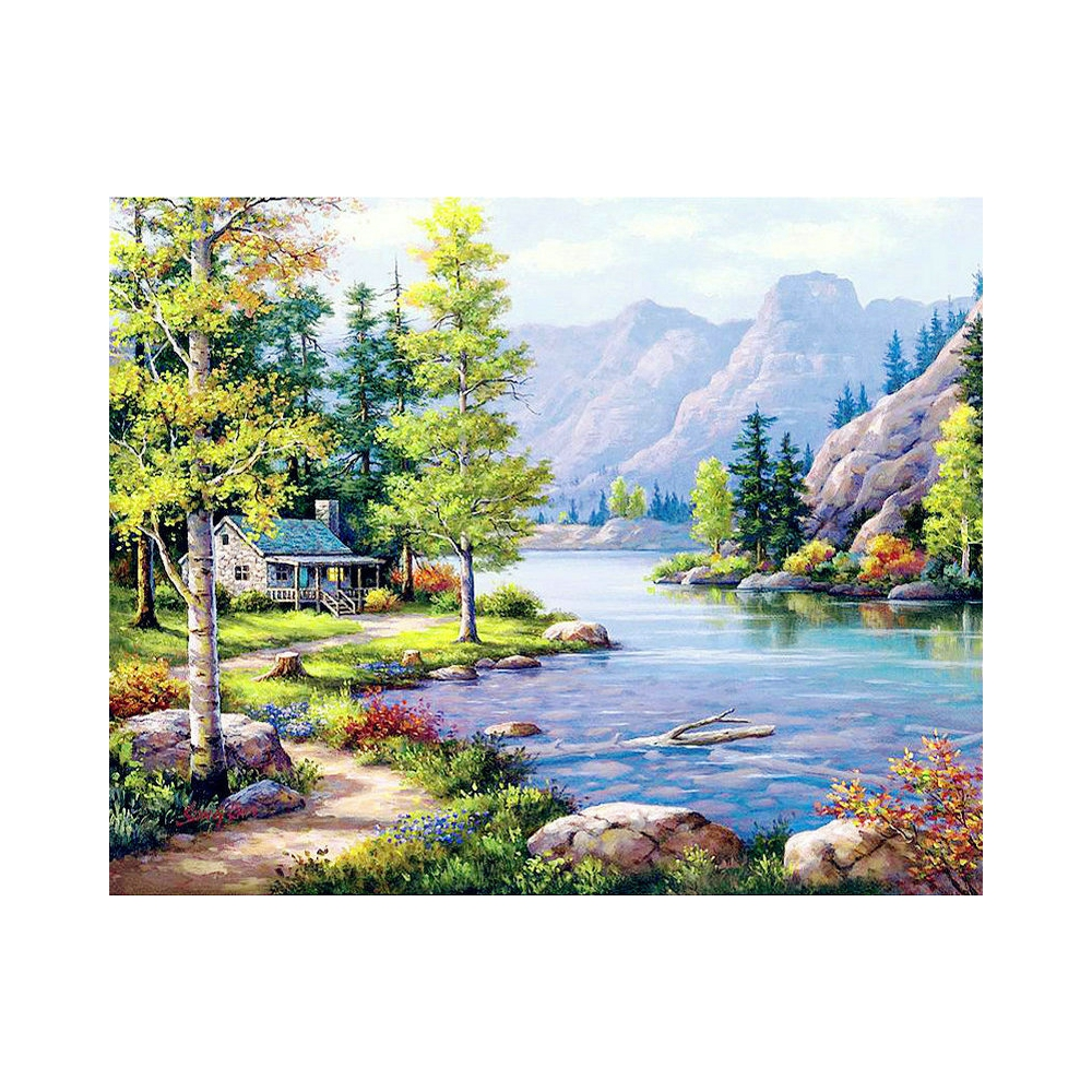 Diamond Embroidery Forest Lake Diamond Painting Cross Stitch scenery Suite 5D DIY Full square, round Mosaic Decoration BV669