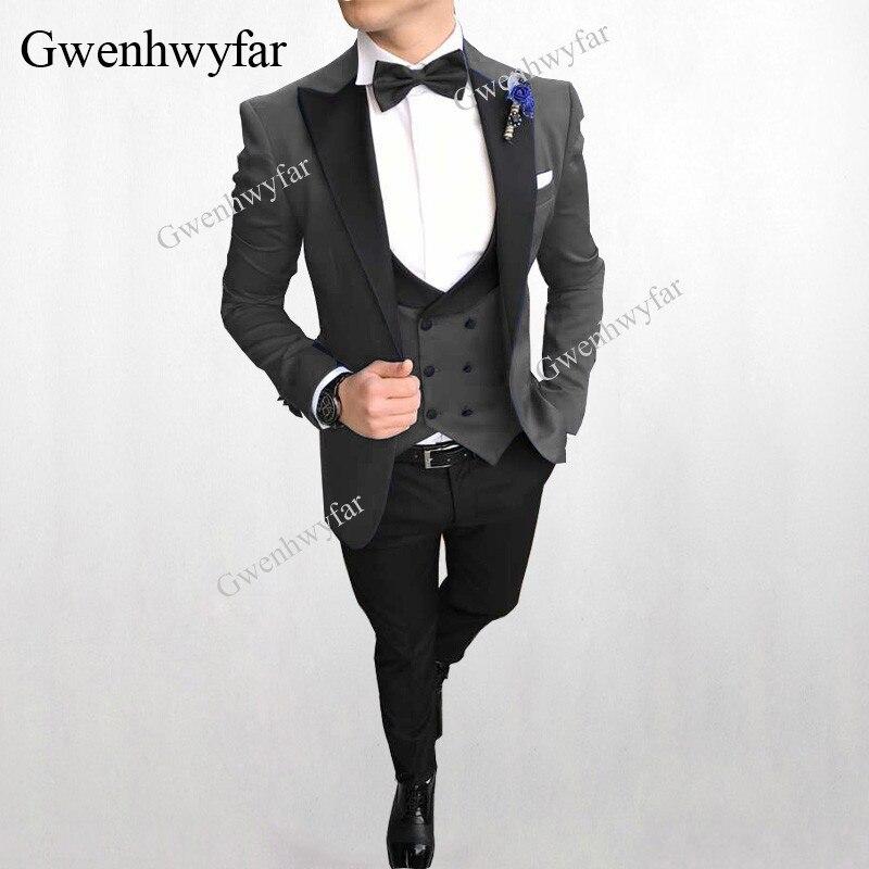 Traje Formal gris elegante para hombre, traje ajustado para hombre, traje de esmoquin para novio, Blazer para boda, chaqueta de graduación con chaleco chaleco-in Trajes from Ropa de hombre    1