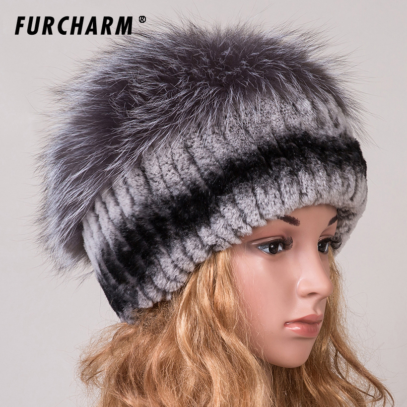 Rex Rabbit Fur Hat Women Winter Real Fur Caps With Pom Pom