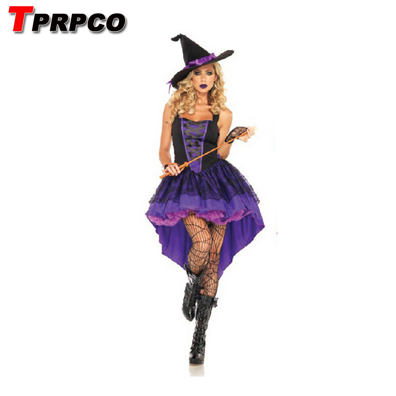 TPRPCO Halloween Witch Costume Women Sexy Swallow Tail Braces Dress With Black Witch Hat Carnival Party Costume NL183