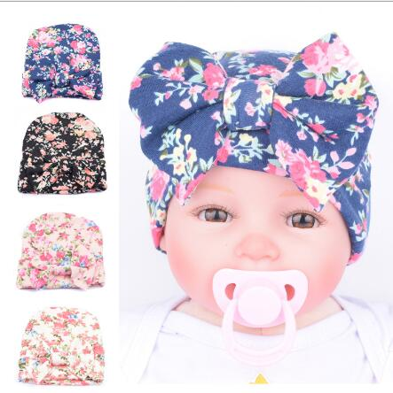 1 Piece Fashion Cute Newborn Infant Baby Girls Flower Bowknot Beanies Hat Comfortably Hospital Caps Hot Sale