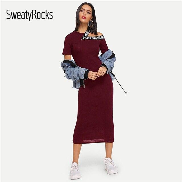 SweatyRocks wyciąć list drukuj sukienka Streetwear kobiety odzież codzienna 2019 nowy lato burgundii Sexy Bodycon sukienka