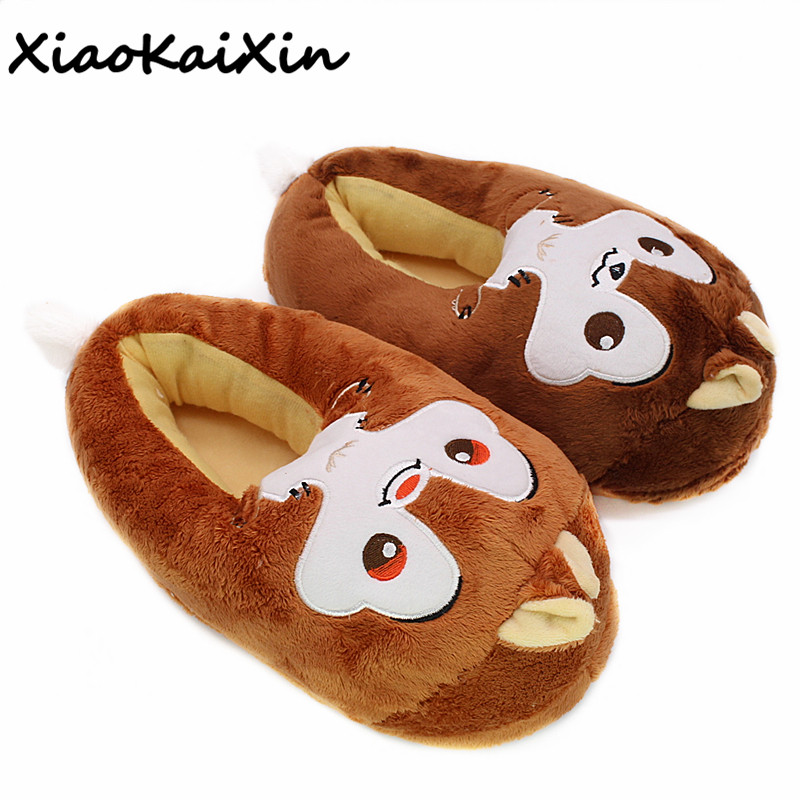 Unisex Anime Cartoon Chip and Dale Plush Home Shoes Men and Women Winter Couples Style Squirrels House Furry PP Fluffy Slippers three squirrels 210gx2be1