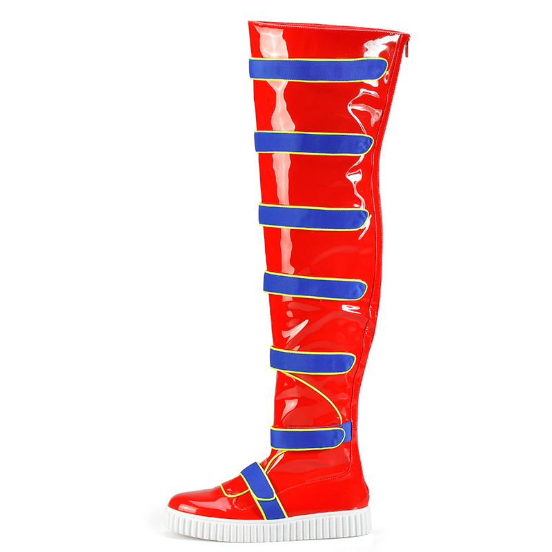 Pink Palms Shoes Women Flat Boots Thick Soled Sneakers Over the Knee Boots Thick Sponge Inside Warm Winter Warm Snow Boots Red
